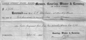 Piano receipt 1915