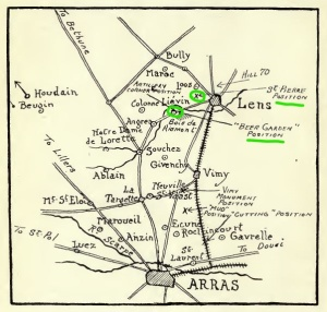Map Arras Lens facing page 67 Lievin marked